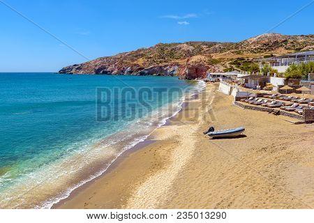 View of beautiful Paleochori beach located on the south coast of Milos. Cyclades, Greece. stock photo