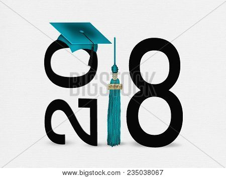 teal graduation cap on black text illustration for class of 2018 isolated on soft white texture stock photo