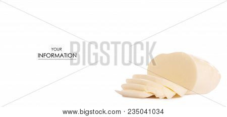 Mozzarella cheese pattern on white background isolation stock photo