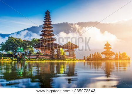 Beautiful Landmark, Pura Ulun Danu Bratan Temple In Bali, Indonesia On Sunrise Pura Ulun Danu Bratan