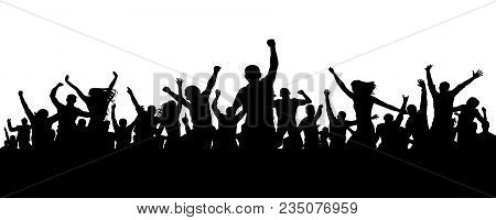 Joyful mob. Crowd cheerful people silhouette. Applause crowd. Happy group friends of young people dancing at musical party, concert, disco. Sports fans, applause, cheering. Vector on white background stock photo