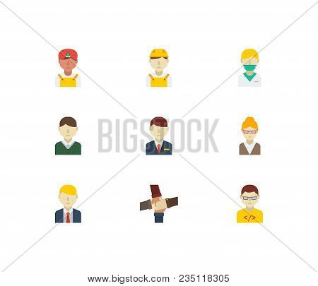 Occupation icons set. Hotel receptionist and occupation icons with teamwork, indian worker and white worker. Set of corporate for web app logo UI design. stock photo
