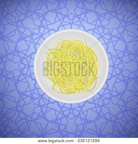 Boiled Floury Product Spaghetti Pattern on Blue Background stock photo