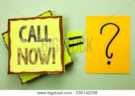 Conceptual hand writing showing Call Now. Business photo showcasing Contact Talk Chat Hotline Support Telephony Customer Service written Yellow Sticky Note plain background Ask for. stock photo