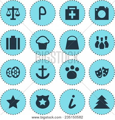 illustration of 16 map icons. Editable set of bowling pins, parking sign, legend and other icon elements. stock photo