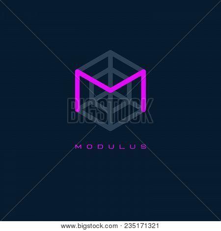 M monogram. M logo. Modulus emblem. Line letter in hexagon. stock photo