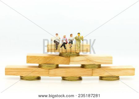 Miniature people : Shoppers for online and offline businesses. Image use for retail business, marketing place concept. stock photo