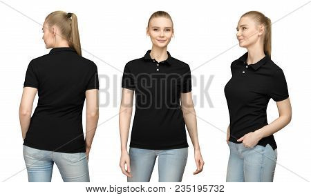 Set promo pose girl in blank black polo shirt mockup design for print and concept template young woman in T-shirt front and half turn side back view isolated white background with clipping path. stock photo