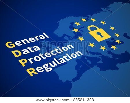 Gdpr General Data Protection Regulation. Eu Computer Safeguard Regulations And Data Encryption Vecto