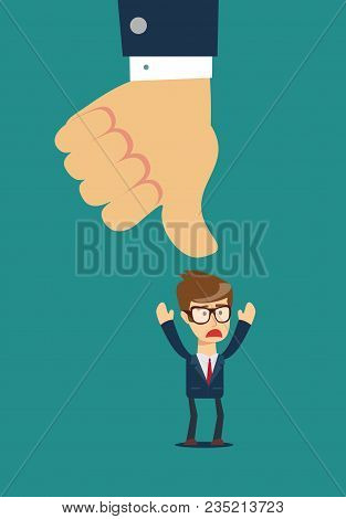 Thumbs down dislike, hate or thumbs down dislike for social networks, art icon for apps and websites. Bad choice sign. Voting. Disapproval isolated vector icon stock photo