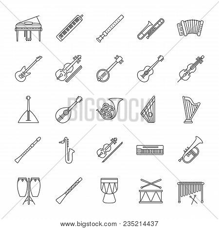 Musical instruments linear icons set. Orchestra equipment. Stringed, wind, percussion instruments. Thin line contour symbols. Isolated vector outline illustrations stock photo