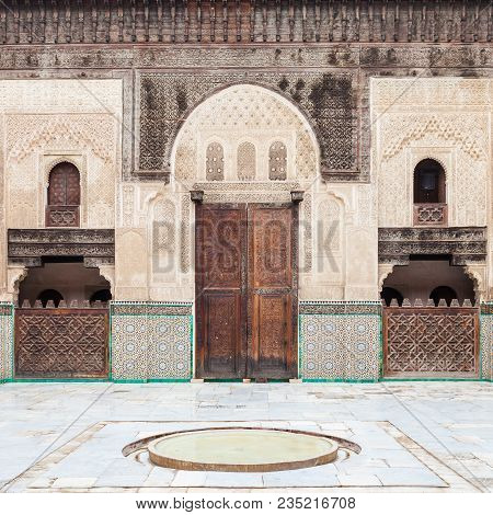 The Madrasa Bou Inania is a madrasa in Fes, Morocco. Madrasa Bou Inania is acknowledged as an excellent example of Marinid architecture. stock photo