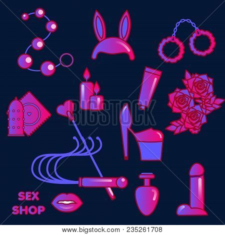 Sex shop icons. Erotic symbols. Adult games and toys stickers stock photo