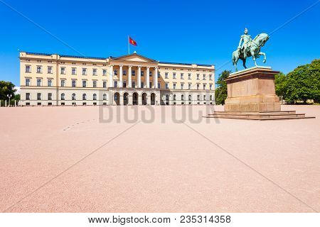Royal Palace in Oslo, Norway. Royal Palace is the official residence of the present Norwegian monarch. stock photo