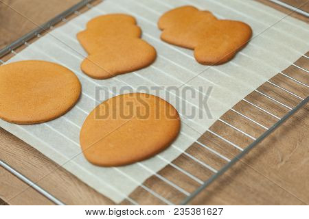 Baking tray with Christmas raw cookies Close up stock photo