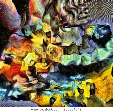 Complex surreal painting. Men with different thoughts and questions. Multilayered fractal. 3D rendering stock photo