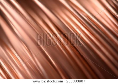 Closeup of Copper Coil Wiring with Focus on One Wire macro stock photo