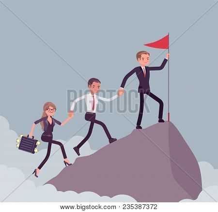 Team of successful businesspeople conquering mountain market top. Company accomplishing a desired aim to reach highest, uppermost profit point, startup result. Vector flat style cartoon illustration stock photo