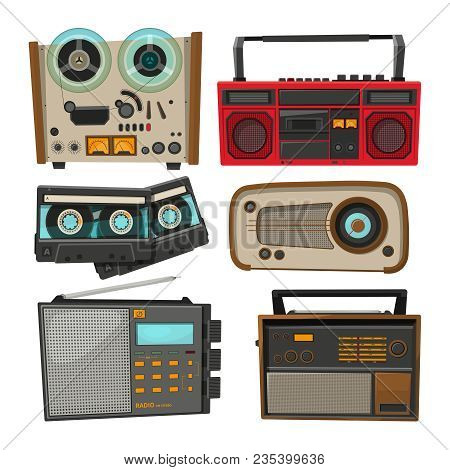 Vintage audio recorders isolated on white. Vector music audio, retro tape and recorder stereo illustration stock photo