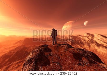 astronaut enter into derelict planet or doing some exploration on a new planet he discover, 3d rendering of sci-fi concept stock photo