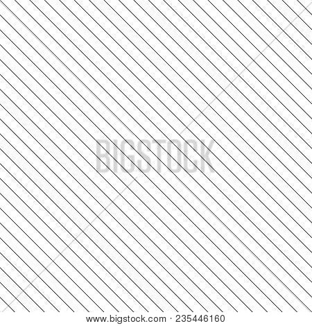 Vector stripes seamless pattern. Thin diagonal lines texture, 45 degrees inclination. Simple striped illustration template, repeat tiles. Black and white. Abstract geometric monochrome background. Lines background. Striped background. stock photo