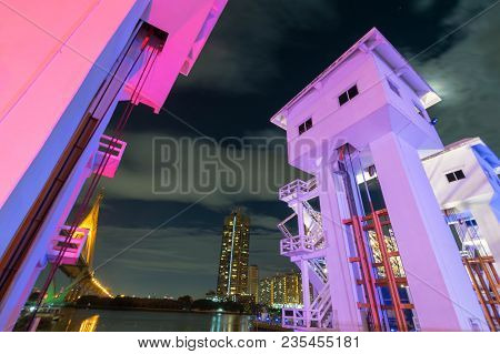 Night Scene  Pho watergate and shortcut canal, Chao Phraya river, Thailand stock photo