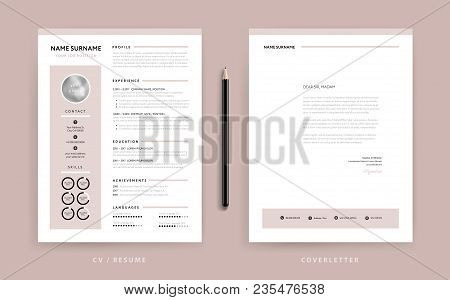 Elegant CV / resume and cover letter template - dusty rose pink color background vector stock photo