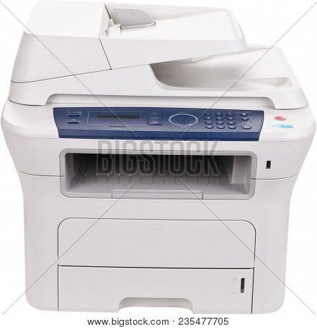 Isolated printer fax machine fax laser printer scanner computer printer stock photo