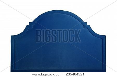 Shaped dark navy blue soft velvet bed headboard isolated on white background, front view stock photo