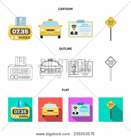 The counter of the fare in the taxi, the taxi car, the driver badge, the parking lot of the car. Taxi set collection icons in cartoon, outline, flat style vector symbol stock illustration . stock photo