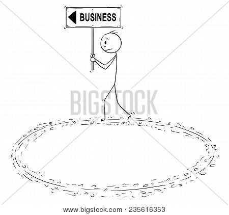 Cartoon stick man drawing conceptual illustration of frustrated businessman holding business and arrow sign and walking in circle trying to achieve success. Concept of vain effort and burnout syndrome. stock photo