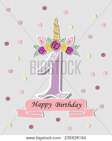 vector illustration with number one unicorn horn ears and