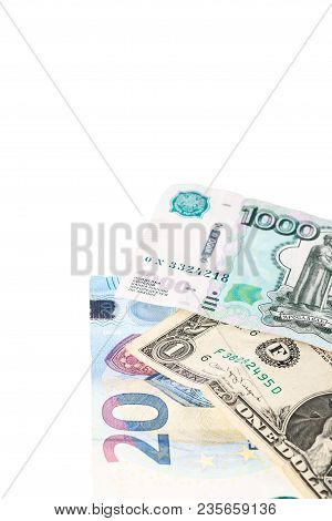 Euro cash. Many Euro banknotes of different values. stock photo