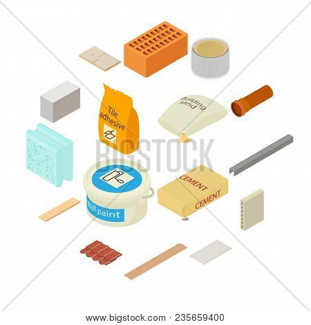 Building materials icons set. Isometric illustration of 16 building materials vector icons for web stock photo