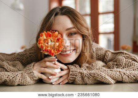 Beautiful portrait of brunette woman 20s in sweater resting in cafe and smiling ttwhile holding one flower in hands stock photo