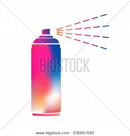 Colorful aerosol spray metal 3D bottle cans - opened cap. For paint, graffiti, deodorant, foam, cosmetics. Flat isolated vector illustration on a white background. stock photo