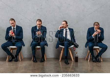 collage of cloned businessman sitting on chairs and showing various addictions stock photo