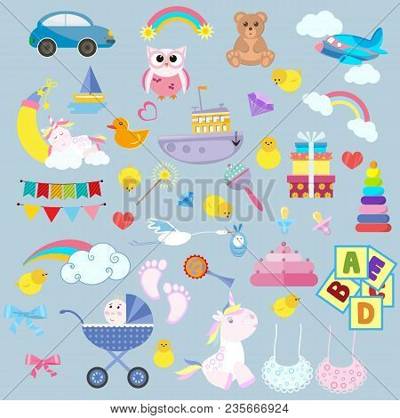 Toy cartoon kids baby. Child game childrens feet play childhood bear colorful vector illustration set kid. Collection baby carriage flat car tiny baby unicorn fun. stock photo