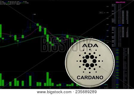 Coin cryptocurrency Cardano on a background chart. Ada. stock photo