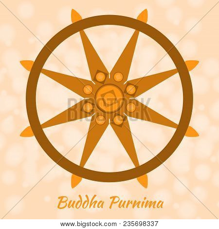 Buddhist holiday - Vesak. The concept of the event. Dharmachakra is the wheel of dharma, the symbol of Buddhism. On a beige background stock photo