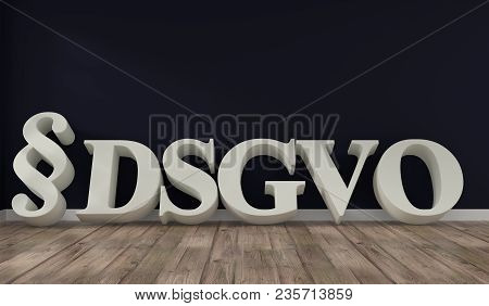Room with wooden floor with the letters DSGVO, 3d concept rendering stock photo