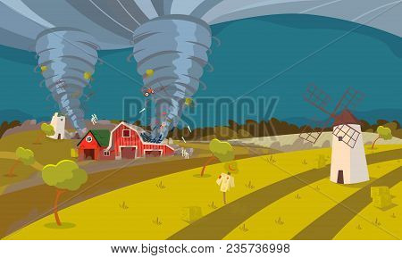 Twisting Tornado Destroying Farm Hurricane Landscape of Storm Waterspout in Countryside Natural Disaster Concept Flat Vector Illustration stock photo