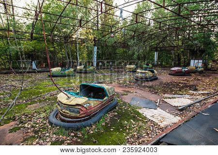 Amusement park in Pripyat. exclusion Zone of Chernobyl ghost city, nuclaer catastrophe 1986 stock photo
