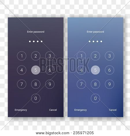 Screen lock authentication password smartphone background template. Vector phone ID recognition screenlock password or lockscreen passcode numbers display stock photo