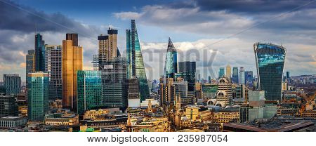 London, England - Panoramic Skyline View Of Bank And Canary Wharf, London's Leading Financial Distri