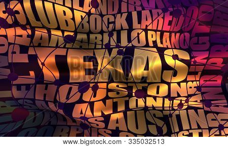 Image relative to USA travel. Texas cities and places names cloud. 3D rendering. stock photo