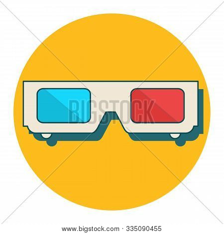 3D glasses vector illustration of flat. A pair of 3D glasses isolated on a colored background. Design black and white 3D glasses for movies. 3D glasses icon concept. stock photo