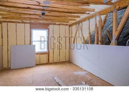Insulation of attic with thermal insulation cold barrier and insulation material thermal insulation attic stock photo
