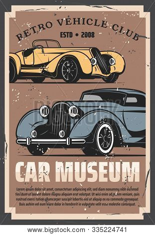Vintage old cars show and rarity motors museum, retro vehicle vector posters. Old timer transport restoration and tuning service, auto center and mechanic garage station stock photo