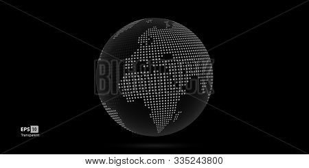 Dotted 3D Vector Globes with World Maps stock photo